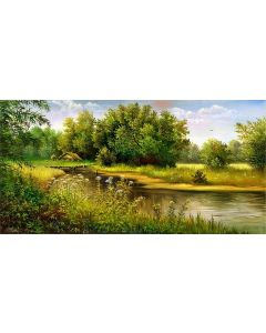 Tablou DualView Startonight Vara pe lac, luminos in intuneric, 60 x 120 cm