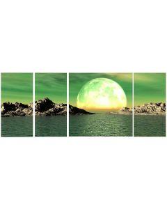 Set tablou DualView Startonight Luna, luminos in intuneric, 60 x 150 cm (3 piese 30 x 60 cm, 1 piesa 60 x 60 cm)