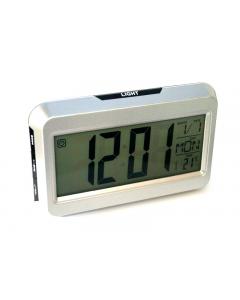 Ceas Digital 2616, cu display LCD si control vocal, functie termometru, Alb-Negru