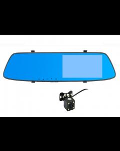 """Camera Auto Oglinda Dual Lens, Soundvox™ L1001C, Full HD 1080P , Ecran 5.0 """" cu Touchscreen,  Vedere Nocturna, Detectie Miscare, Neagra"""