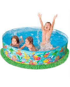 Piscina Gonflabila pentru Copii, Model 56452, Design Happy Ocean, Perete Lateral Solid, 900 L, 183 x 38 cm