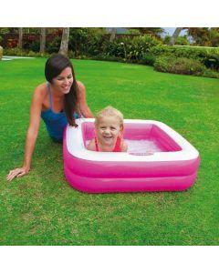 Piscina Gonflabila pentru Copii, cu Baza Moale, Model 57100, 85 x 85 x 23 cm, 5 L, Roz