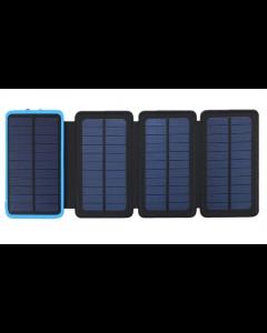 Acumulator Extern 10000 mAh, cu Incarcare Solara cu 4 Panouri, 2 USB, Lanterna LED cu Mod SOS, Negru-Albastru