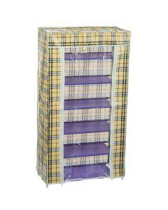 Dulap Textil Pliabil B-6, pentru Incaltaminte si Accesorii, cu 6 Rafturi, 60x30x108 cm, Maro cu Dungi Negre