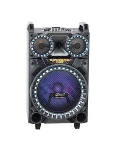Boxa Activa Portabila Troller 12, Soundvox MT-1702, cu 2 x Microfoane, 120 W, Bluetooth, Display, Fm, Usb, Sd, Aux, Lumini, Telecomanda, Silver