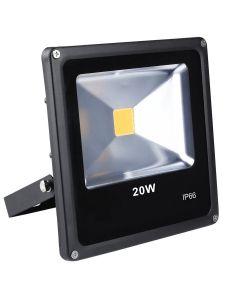 Proiector de Lumina cu LED-uri de 20 W, 1500 Lm, Lumina de Zi Alba, 6000 K, Rezistent la Apa IP66, Negru