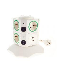 Prelungitor de Casa Vertical JLS-302S, cu 7 Prize si 2 USB, Alb-Verde