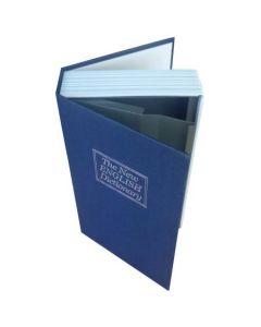 Seif model dictionar carte, cu o cutie secreta, metalic, 115 x 55 x 180 mm, Albastru