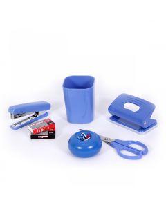 Set birou (suport pixuri, foarfeca 17 cm, capsator 10, perforator, 2 cutii capse 10)