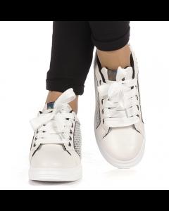 Pantofi sport dama Malih albi cu negru, 38