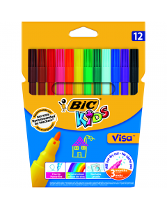 Markere colorate lavabile Visa, 12 bucati
