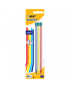 Creion grafit Evolution STRIPES 646 cu radiera, set 3 bucati, Bic