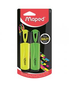Textmarker Maped 2 bucati, galben/verde