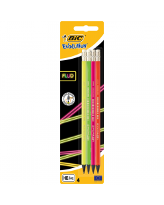 Creion grafit Evolution FLUO cu radiera, set 4 bucati, Bic