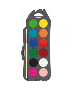 Acuarele Maped 30 mm, 12 culori + pensula