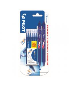 Set 2 buc Roller Pilot Frixion 0.7mm, 6 rezerve incluse, albastru