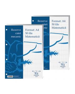 Rezerve pentru caiet mecanic A4 Matematica 50 file, Pigna