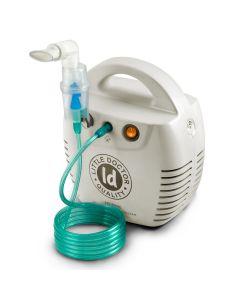 Nebulizator cu compresor Little Doctor LD 211 C, Kit complet de accesorii, 3 masti, 3 dispensere, Compartiment special pentru accesorii, Alb