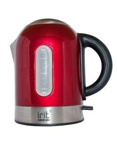 Fierbator Irit IR-1323, 2200 W, 1.7 l, Carcasa Inox, Oprire automata, baza rotativa 360°, Rosu