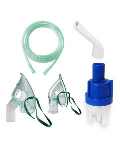 Kit accesorii universale pentru aparatele de aerosoli cu compresor RedLine RDA009, masca medie rotativa, masca bebelusi, furtun 2 m, kit de nebulizare, piesa bucala