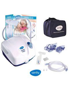 Aparat aerosoli Sanity Simple Inhaler, nebulizator cu compresor, compact si dimensiuni reduse, geanta de transport, alb