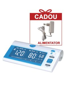 Tensiometru electronic de brat Sanity Senior, 120 seturi de memorie, tehnologie FDS, produs validat clinic, Alb/Albastru