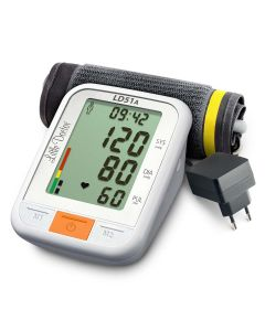 Tensiometru electronic de brat Little Doctor LD 51a, afisaj XXL, detector aritmie, indicator WHO, afisare data si ora, adaptor priza inclus, Alb/Gri