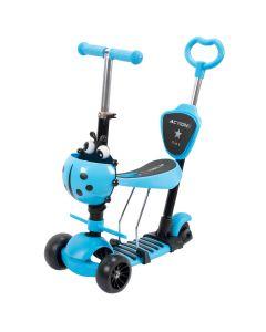 Trotineta Action Big Wheels 5 IN 1 Albastra, cu roti luminoase si late