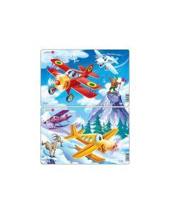 Set 2 Puzzle-uri Avioane, 13 piese Larsen LRU7