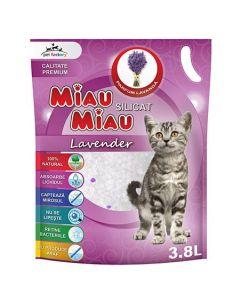 Asternut igienic Silicat Miau Miau Lavanda, 3.8 l