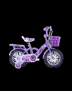 Bicicleta fetita 16 inch cu pedale, pentru copii cu varsta intre 4-8 ani,roti ajutatoare,cos jucarii,portbagaj,aparatori noroi