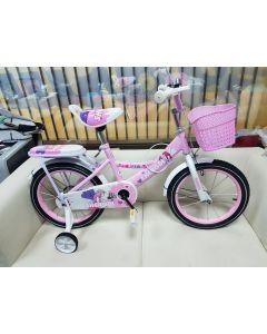 """Bicicleta Roz cu zane 16""""albastra cu pedale pentru copii,roti ajutatoare ,aparatoare noroi,portbagaj,sonerie"""