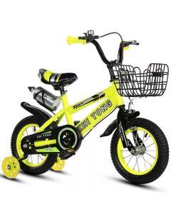 """Bicicleta Sport 16"""" galbena cu pedale pentru copii cu varsta intre 3-8 ani ,roti ajutatoare ,aparatoare noroi,suport si bidon apa"""