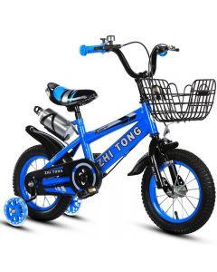 """Bicicleta Sport 16""""albastra cu pedale pentru copii,roti ajutatoare ,aparatoare noroi,suport si bidon apa"""