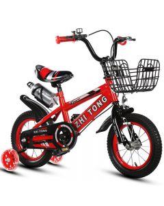 "Bicicleta 16"" Sport rosie cu pedale pentru copii cu varsta intre 3-7 ani,cu roti ajutatoare,sonerie suport si bidon apa"