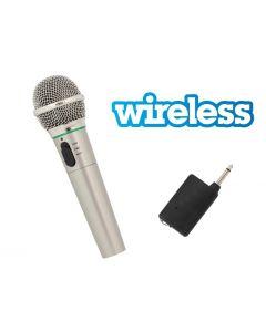 Microfon Wireless sau Cu Fir 3m pentru Karaoke, Argintiu