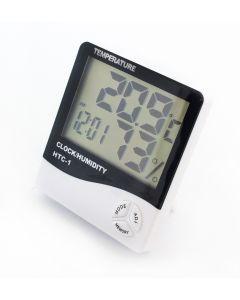 Statie Meteo 5-in-1 Wireless cu Afisaj LCD, Ceas cu Alarma, Temperatura, Umiditate, Data, Culoare Alb