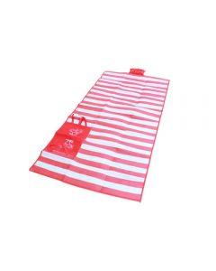 Saltea de Plaja din PVC cu Pernita Gonflabila, Pliabila tip Sacosa, Culoare Rosu