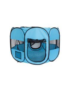 Tarc de Joaca Pliabil pentru Copii sau Animale, Acoperis Detasabil, Diametru 90cm, Culoare Albastru