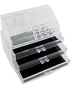 Organizator transparent cu 3 sertare pentru cosmetice
