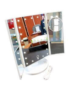 Oglinda Reglabila de Masa pentru Machiaj cu 3 Oglinzi Laterale Pliabile, Iluminate LED si Lupa Marire