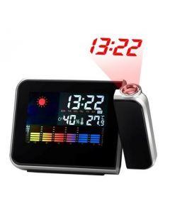 Stație meteo cu ceas digital, alarmă, calendar și proiector al orei