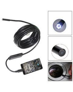 Cablu flexibil impermeabil videoendoscop cu USB de 5m lungime, diametru camerei pe cablu 5,5mm si lumina LED + Lanterna