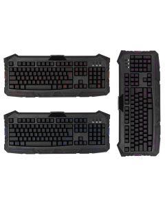 Tastatura computer cu taste iluminate de diferite culori, cu conectare cablu USB, Negru