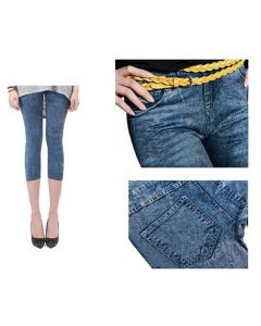 Pantaloni Colanti Tip Blugi Leggings 3 Sferturi pentru Dama, Marime S-M, Culoare Albastru