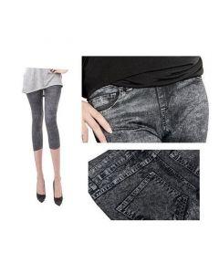 Pantaloni Colanti Tip Blugi Leggings 3 Sferturi pentru Dama, Marime S-M, Culoare Negru