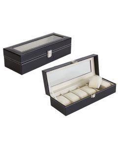 Cutie Caseta Eleganta pentru 6 Ceasuri , Bijuterii sau Bratari, Piele Eco, Culoare Negru