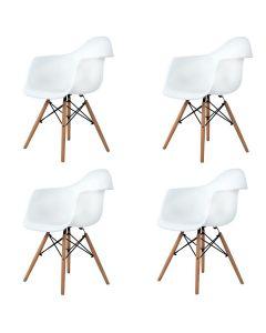 Set 4x Scaune Moderne in Stil Scandinav pentru Salon, Bucatarie, Sufragerie sau Terasa, Culoare Alb