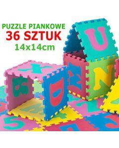 Set Covoras Tip Puzzle pentru Copii, 36 Piese din Spuma Moale, Multicolor cu Litere si Cifre