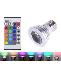 Bec led RGB, 16 culori cu control de la distanta din telecomanda New Mania
